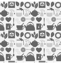 Flat monochrome tea icons seamless pattern vector image