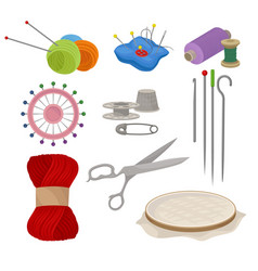 Flat set of tools and materials for sewing vector