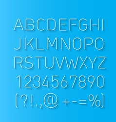 Font thin lines with shadow vector image