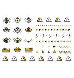 Geometric golden shapes set in 80s style memphis vector