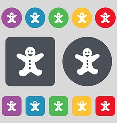 Gingerbread man icon sign A set of 12 colored vector
