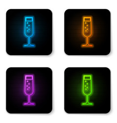 glowing neon glass champagne icon isolated on vector image