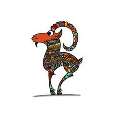 Goat sketch for your design vector