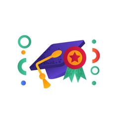 graduation cap with tassel and medal education vector image