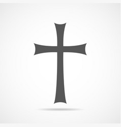 Gray christian cross icon vector