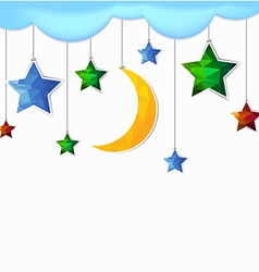 Hanging moon and star polygonal vector
