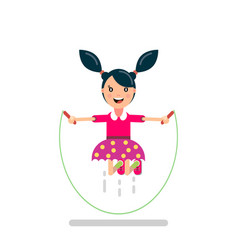 happy girl jumping rope vector image