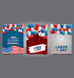 happy labor day flyer or brochure set vector image