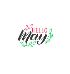 Hello may hand drawn lettering card vector