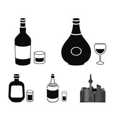 Herbal liqueur gin cognac rumalcohol set vector