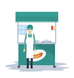 hot dog seller in the car vector image