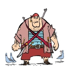Huge funny pirate and seagulls vector image