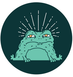 Icon tattoo style toad character vector