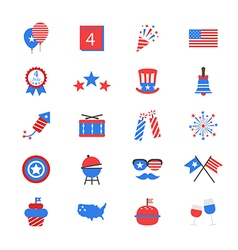 Independence Day Flat Color Icons vector