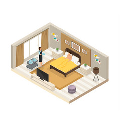 Isometric breakfast hotel service concept vector
