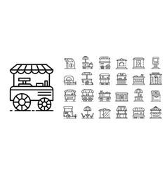 Kiosk icon set outline style vector