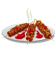 Kofta kebab with sauce vector