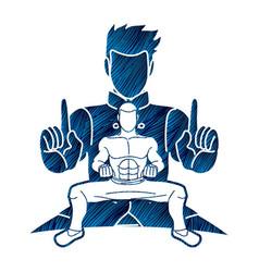 Kung fu fighter martial arts action pose cartoon vector