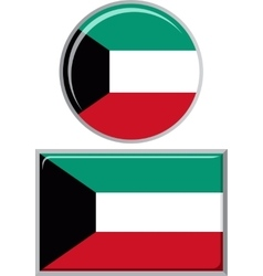 Kuwait round and square icon flag vector image