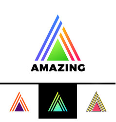 Letter a enclosed in a triangle abstract logo vector
