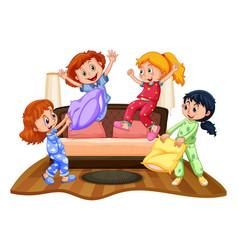 Many girls at slumber party vector