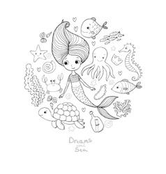 Marine set Little cute cartoon vector image