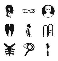 Medical treatment icons set simple style vector
