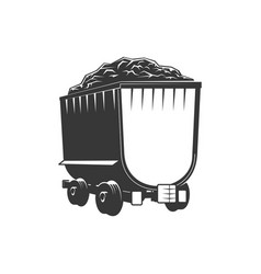 Mining railroad trolley with coal or rock isolated vector