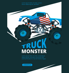 monster truck poster design template of retro vector image
