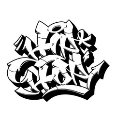 Outline hip-hop in graffiti style vector