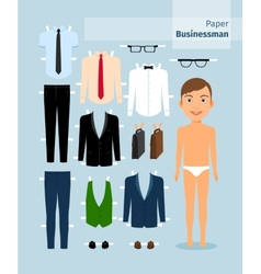 Paper businessman Suit shirt glasses and vector