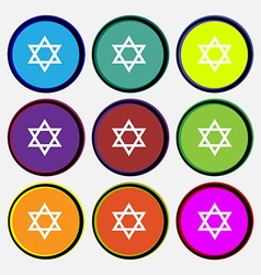 Pentagram icon sign Nine multi colored round vector
