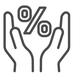 percent sign in hands line icon percentage vector image
