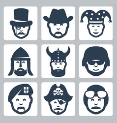 profession icons set magician cowboy jester vector image