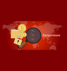 ransomware wannacry hacker malware concept of lock vector image