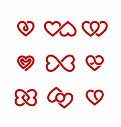 Red heart icons set valentines day design elements vector