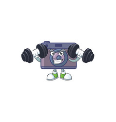 Retro camera mascot icon on fitness exercise vector