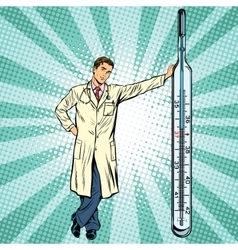 Retro medical doctor with thermometer vector