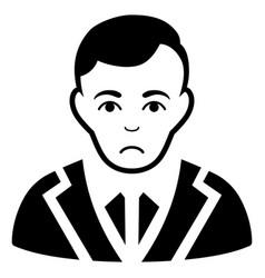 Sad noble gentleman black icon vector