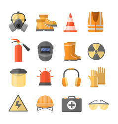 safety at work icons in a flat style vector image