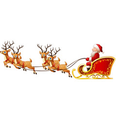 santa claus rides reindeer sleigh on christmas vector image