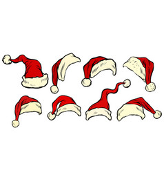 santa hat collection set vector image