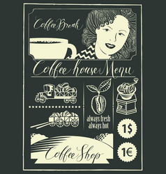 Set of design elements on coffee theme with girl vector