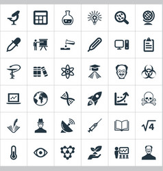 Set of simple study icons elements knowledge vector