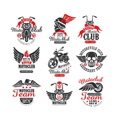 Set of vintage motorcycle club logos emblems vector
