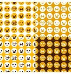 set seamless pattern happy smileys vector image