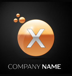 silver letter x logo gold dots splash and bubble vector image