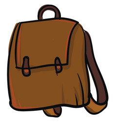 simple brown backpack on white background vector image