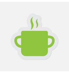 Simple green icon - cooking pot with smoke vector