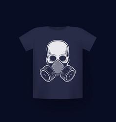 Skull in respirator gas mask t-shirt print vector